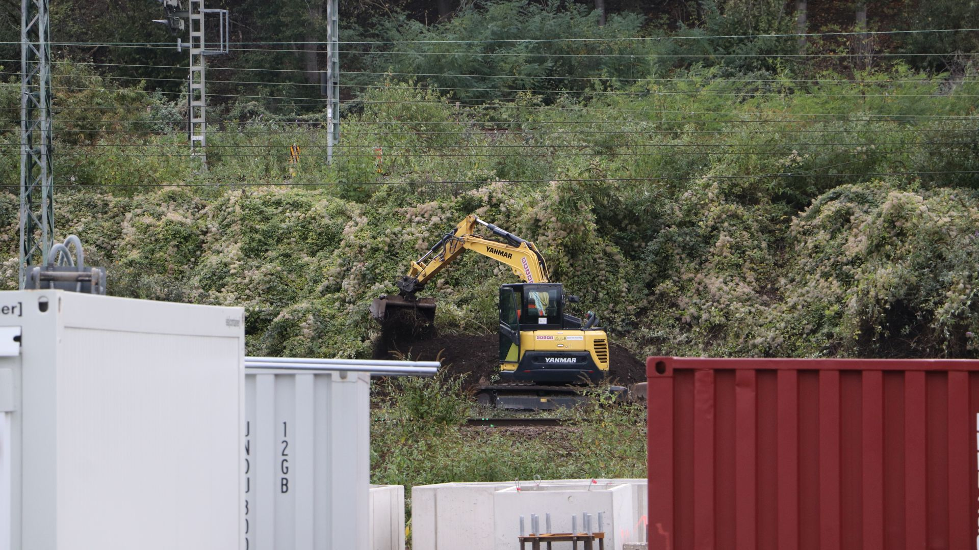 Gelber Bagger vor grünem Gebüsch