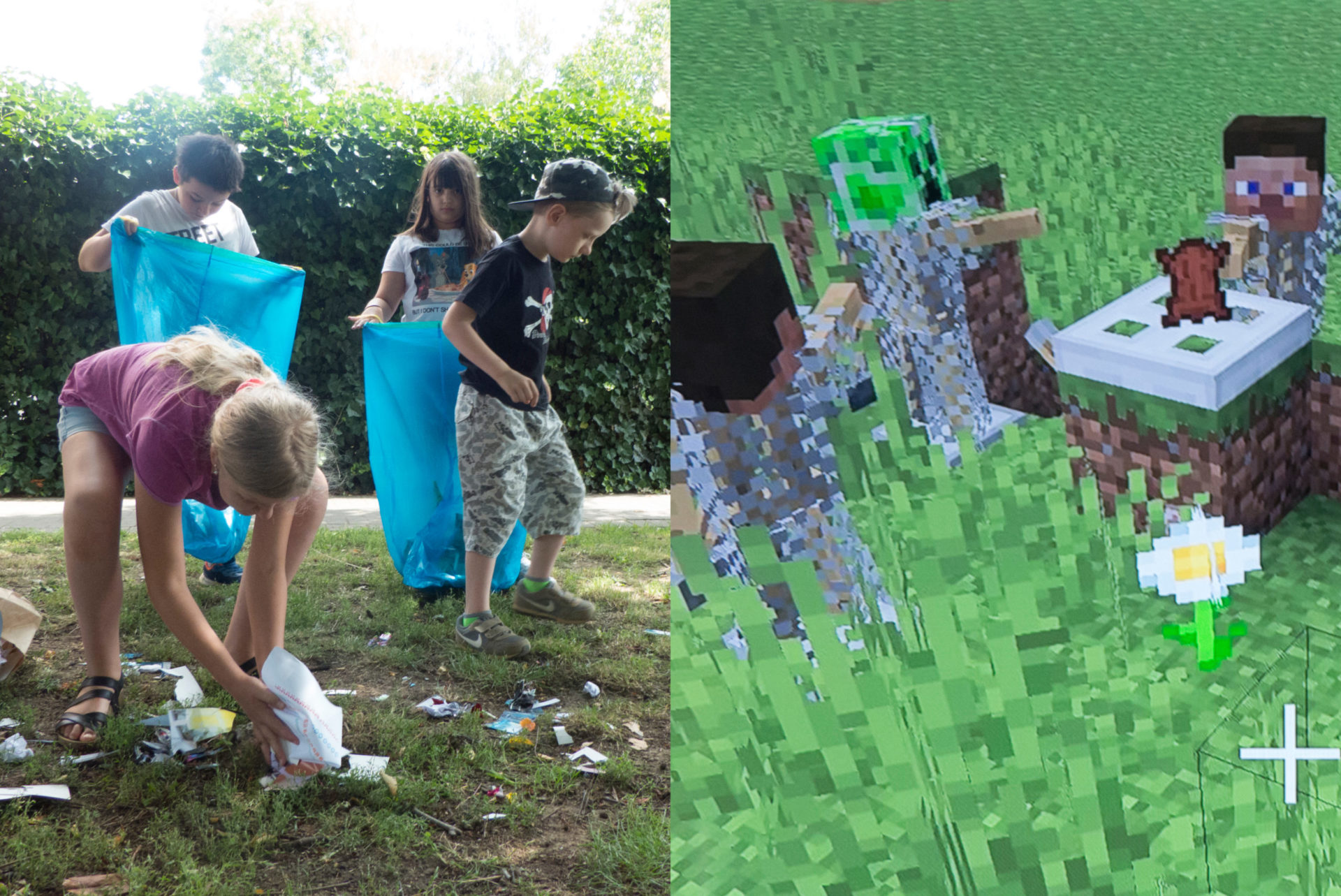 Nun sammeln Kinder gemeinsam den Müll ein, ebenso in Minecraft